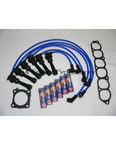 GTO and 3000GT Twin Turbo Spark Plug and HT Lead Service Kit Blue