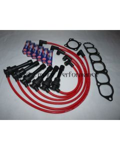 GTO and 3000GT Twin Turbo Spark Plug and HT Lead Service Kit Red